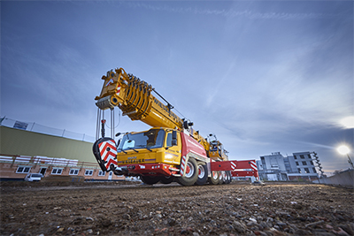 Grove GMK6300L-1 all-terrain crane with Allison Automatics at Wiesbauer: Tall, smooth, maneuverable and tailor-made for airy heights